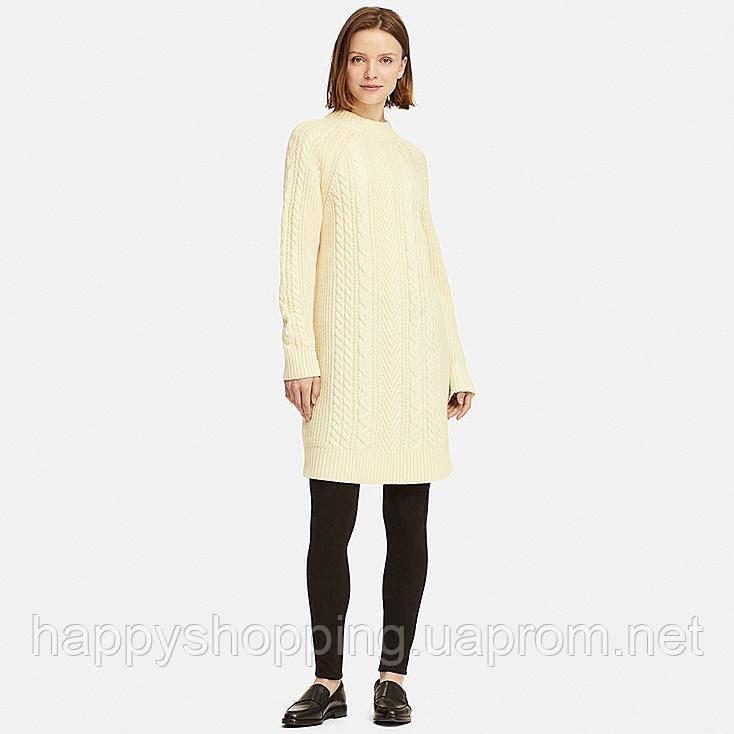Женское молочное шерстяное вязаное платье Uniqlo