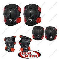 Защита для катания на роликах, скейтборде (налокотники, наколенники, перчатки, р-р 3-7лет), черно-красная