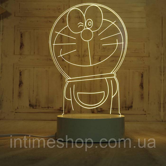 🔝 Светодиодный светильник, детский ночник, кот Дораэмон, (доставка по Украине) | 🎁%🚚