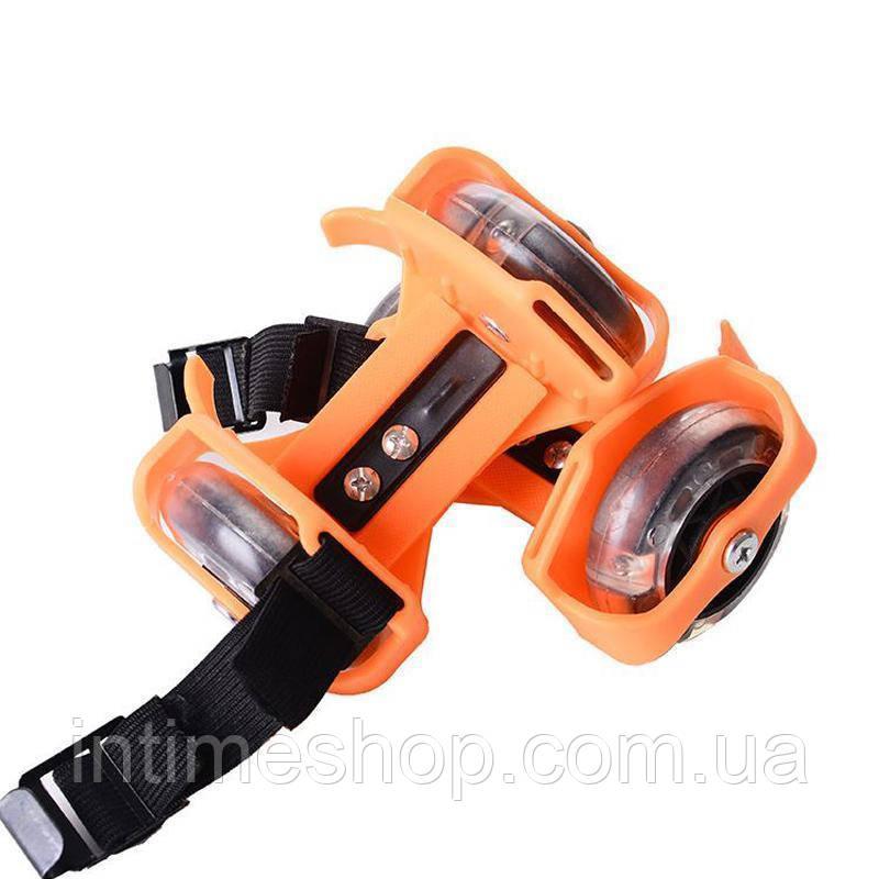 🔝 Ролики на кроссовки на пятку Small whirlwind pulley - Оранжевые, сверкающие ролики | 🎁%🚚