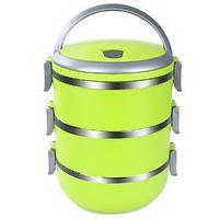 🔝 Термо ланч бокс из нержавеющей стали Lunchbox Three Layers пищевой тройной для еды Салатовый | 🎁%🚚, фото 1