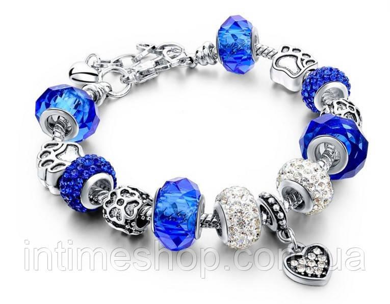 🔝 Браслет в стиле Pandora Пандора Сердце (реплика) - синий   🎁%🚚