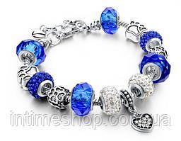 🔝 Браслет в стиле Pandora Пандора Сердце (реплика) - синий | 🎁%🚚