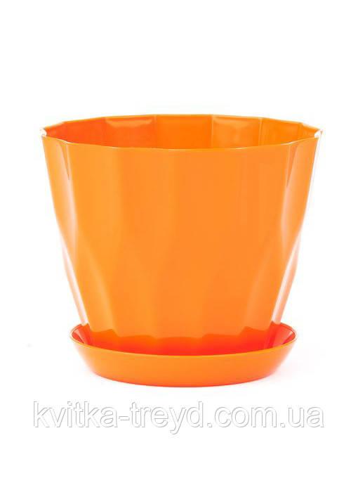 Цветочный горшок Карат с подставкой оранжевый