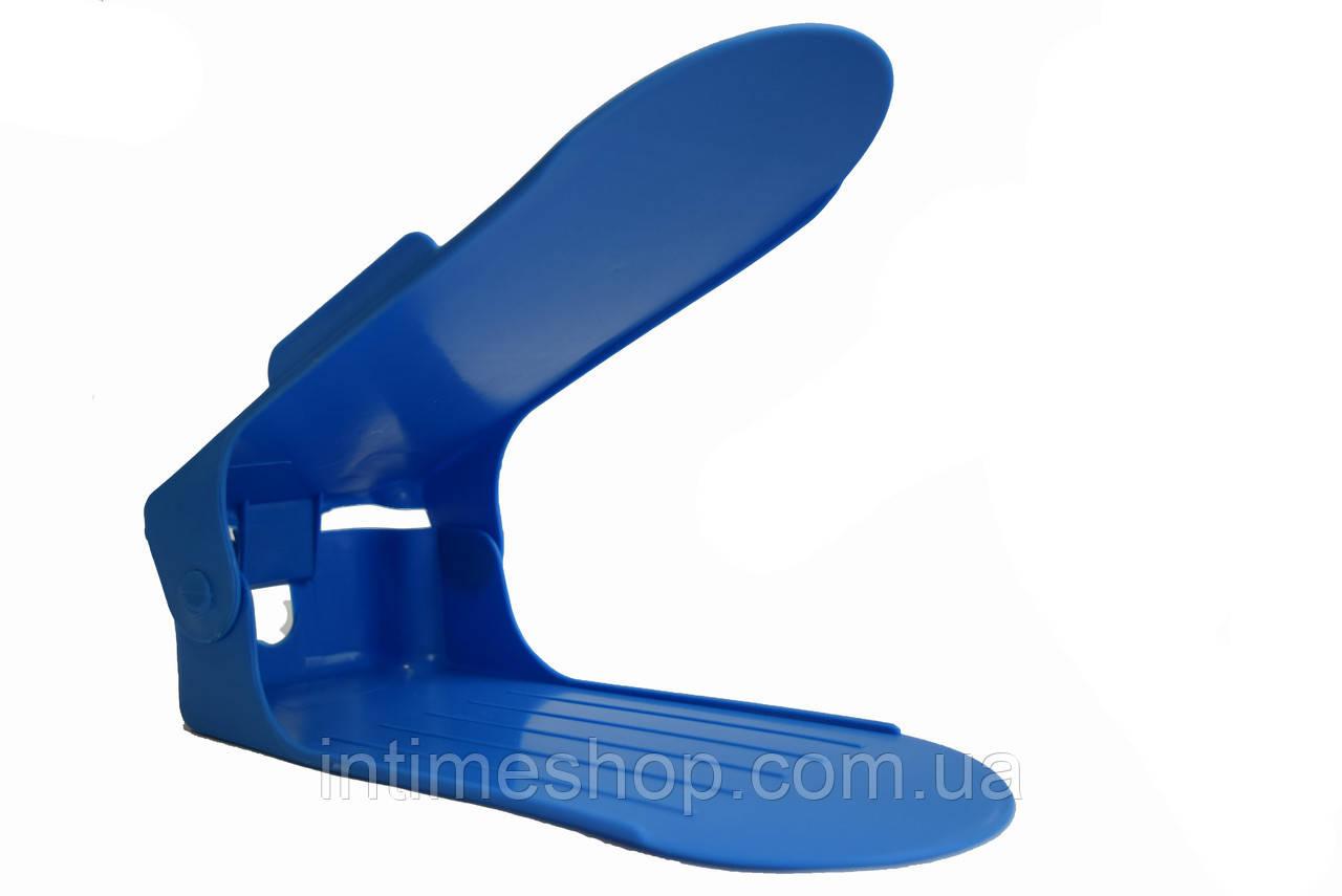 Двойная пластиковая стойка-подставка для хранения обуви - голубая