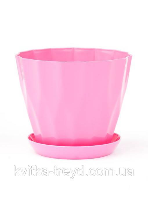 Цветочный горшок Карат с подставкой розовый