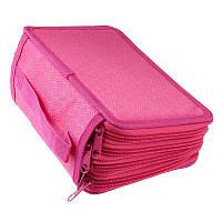 🔝 Тканевый пенал, на молнии, раскладной, для девочки, цвет - розовый | 🎁%🚚, фото 1