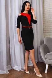 Платье из стрейчевой ткани с евросеткой