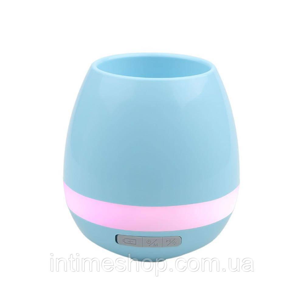🔝 Умный горшок, блютуз колонка для телефона, Smart Music Flower-pots, цвет - голубой | 🎁%🚚