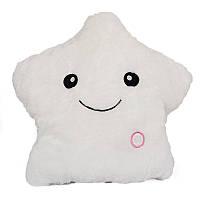 🔝 Подушка с подсветкой, декоративная, Звезда, на диван, цвет - белый | 🎁%🚚, фото 1