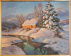 Картина Тане сніг худ. К. А. Вещилов 1-я третина ХХ століття, фото 2