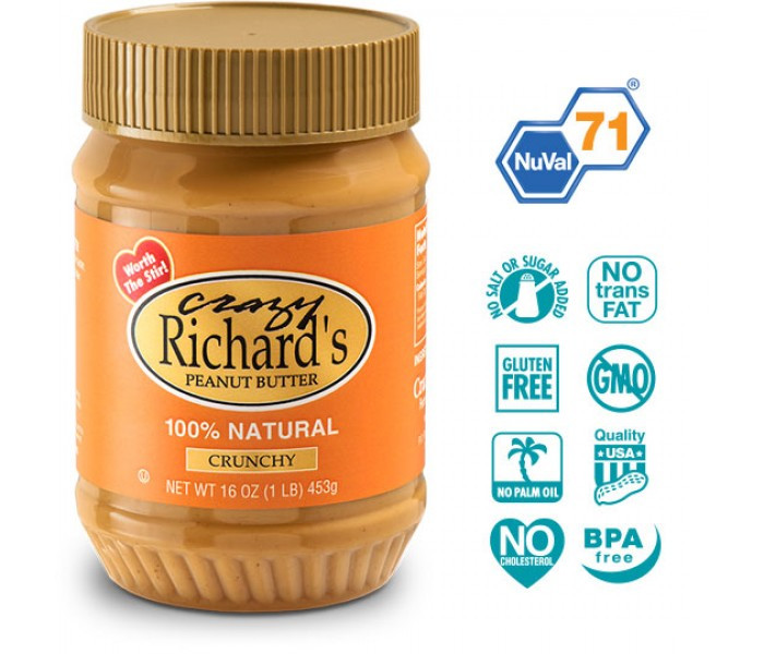 Арахісова паста Crazy richard's Crunchy Natural, 454 грам (без солі і цукру). США