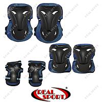 Защита спортивная наколенники, налокотники, перчатки Zelart SK-3505B (размер М, L, синяя)