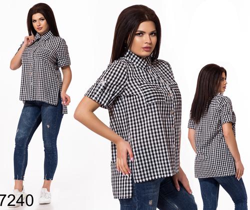 Женская рубашка в клетку (черный) 827240