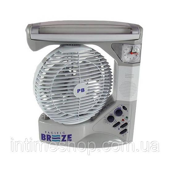 ✅ Настольный вентилятор, на аккумуляторе, с часами, PACIFIC BREEZE EL-2102 6 в 1