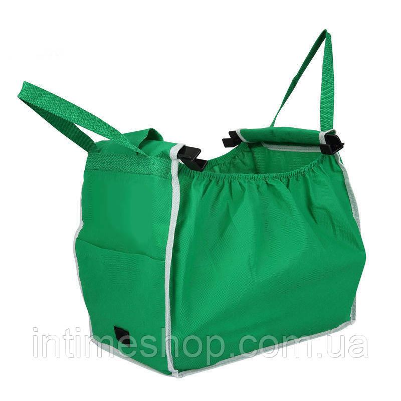 ✅ Складная сумка для покупок Grab Bag Snap-on-Cart Shopping Bag, с доставкой по Украине