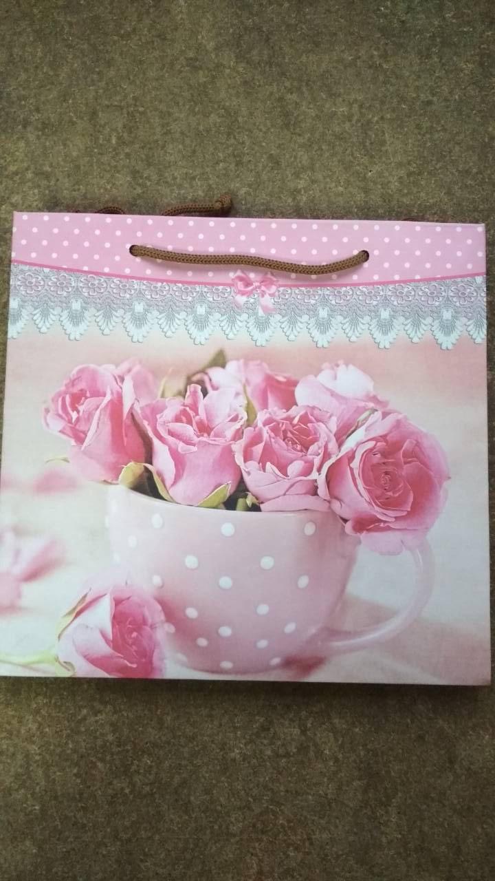 Подарочный бумажный пакет КВАДРАТ ''Чашка'' (24*24*10)