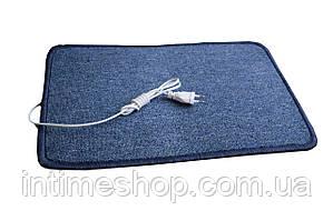 🔝 Электроковрик с подогревом (ковролин) - синий,закругленный, коврик с электро утеплителем Трио   🎁%🚚