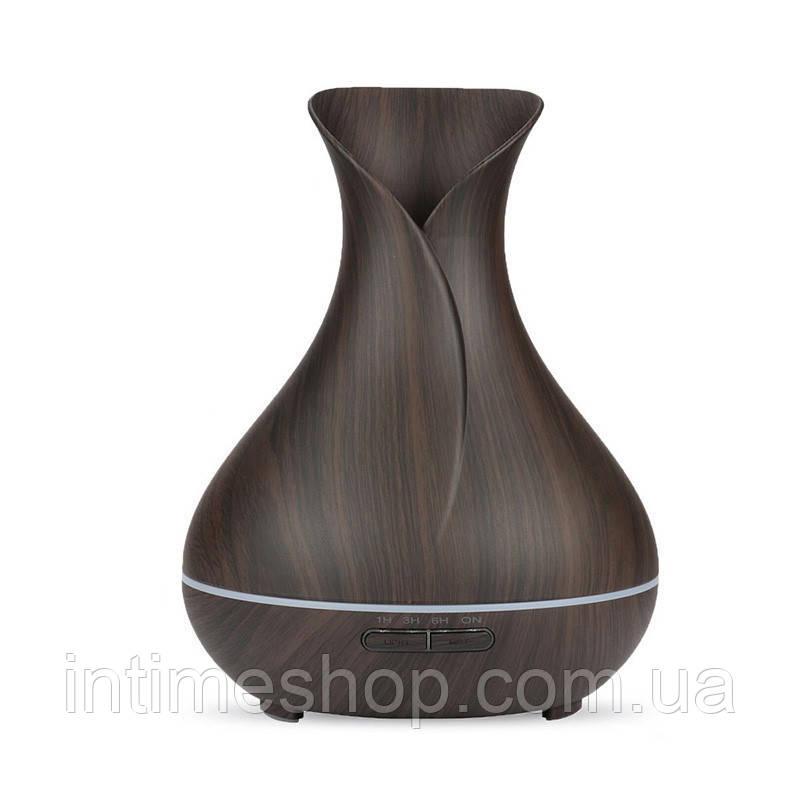 🔝 Ультразвуковой увлажнитель воздуха, аромадиффузор, Aroma Diffuser,400 мл., для дома, цвет - тёмный | 🎁%🚚