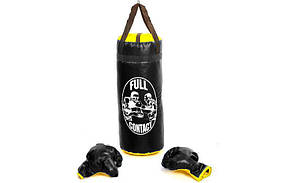 Боксерский набор детский (перчатки+мешок) BO-4675-L (PVC, р. L, мешок h-52см, d-20см, черный)