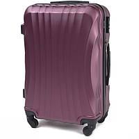 Большой пластиковый цвета дорожный чемодан на 4 колесах фирма Wings (бордовый)