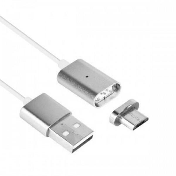 Магнитный кабель, зарядка для телефона Magnetic Cable 2 в 1 (Apple и Android) Серебристый