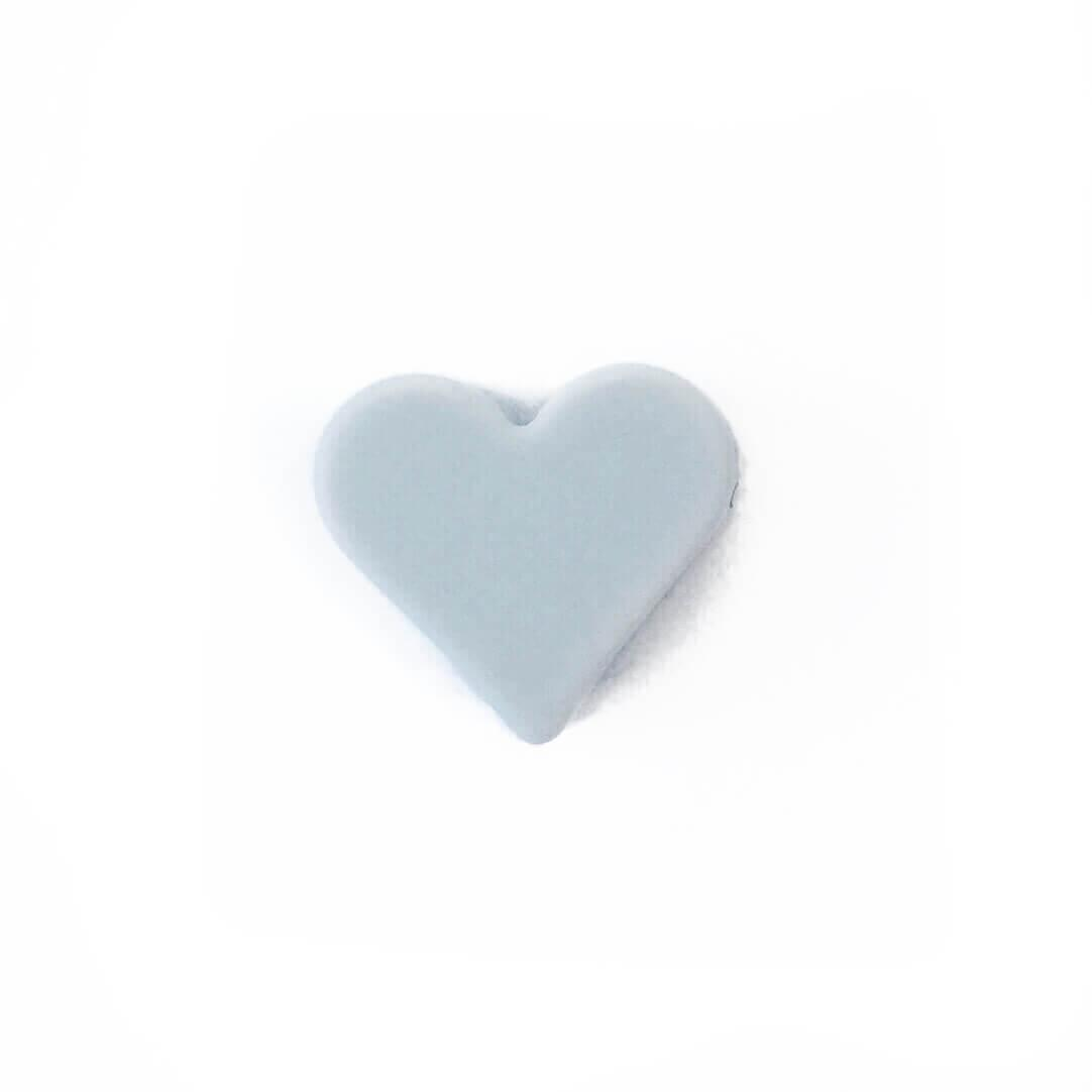 Мини сердечко (светло-серый) силиконовая бусина