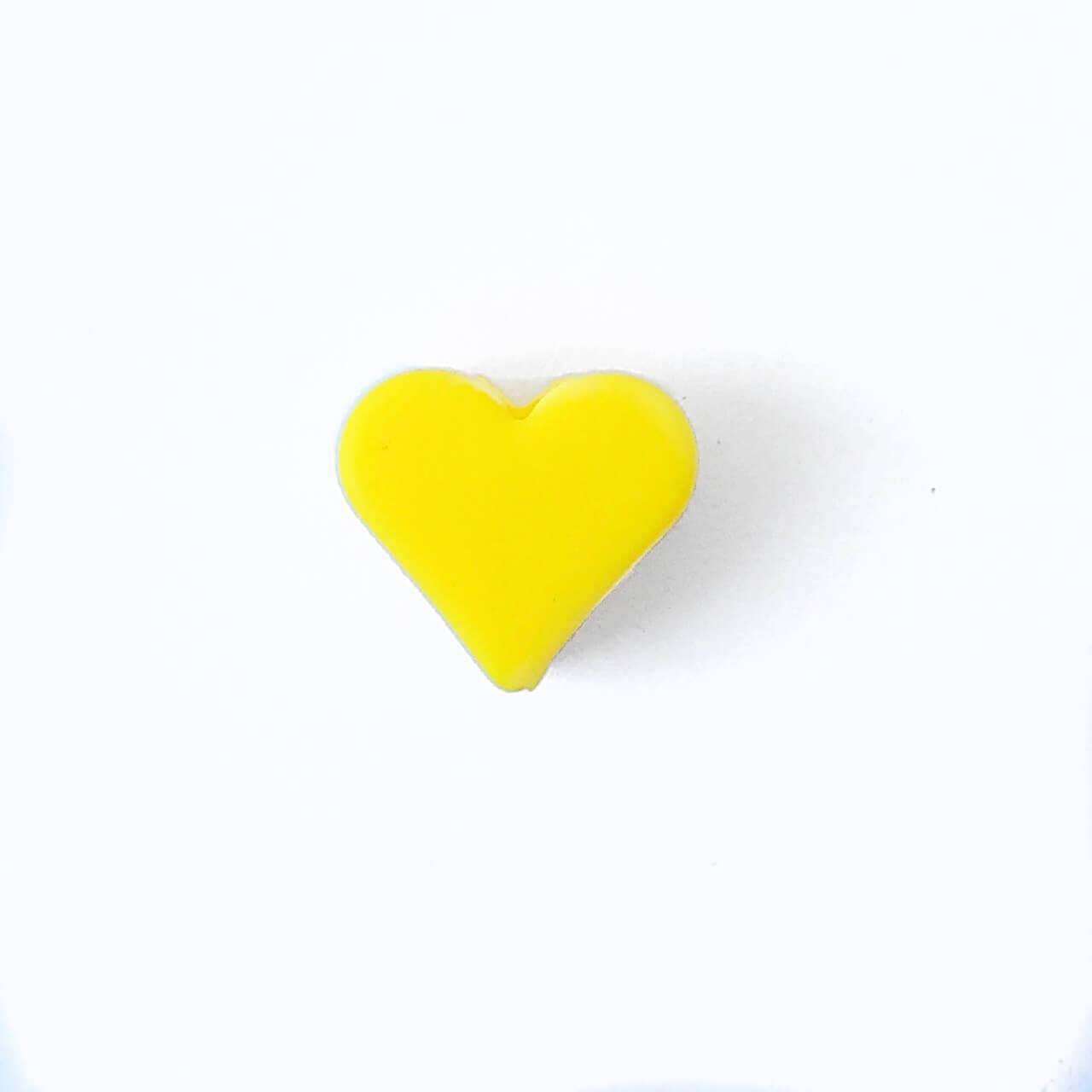 Мини сердечко (желтое) силиконовая бусина