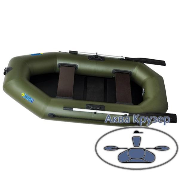 Надувний двомісна човен ПВХ рибальське Omega Ω 250 LS (гребний човен з сланью)