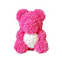 Мишка из 3D роз высота 40 см красный с сердечком в подарочной коробке Розовый