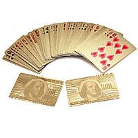 """Покерные пластиковые игральные карты с позолотой """"Доллар"""", колода 54 шт., с доставкой по Киеву и Украине, фото 1"""