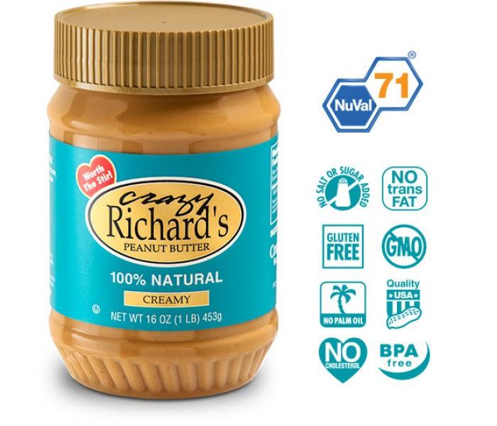 Арахисовая паста Crazy Richard's Creamy Natural, 454 грамм (без соли и сахара). США