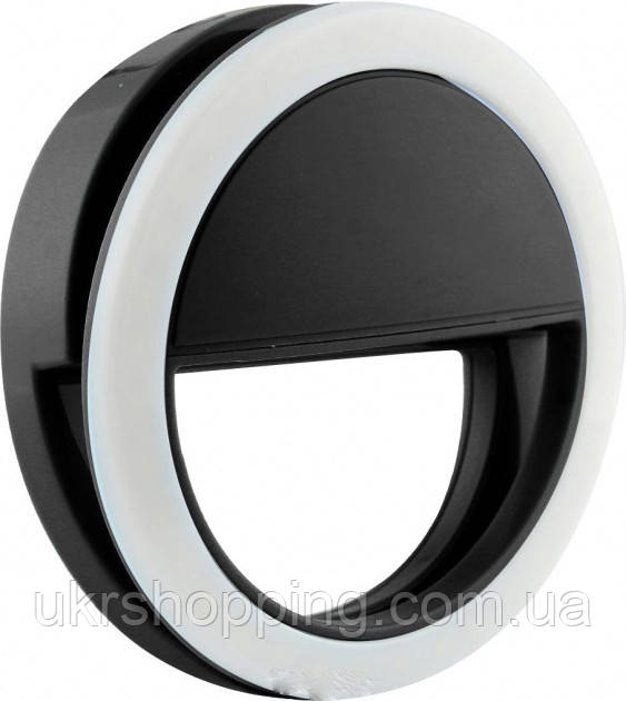 🔝 Светодиодное кольцо для селфи, подсветка на телефон, Selfie Ring XJ-01, селфи лампа, цвет корпуса - черный   🎁%🚚