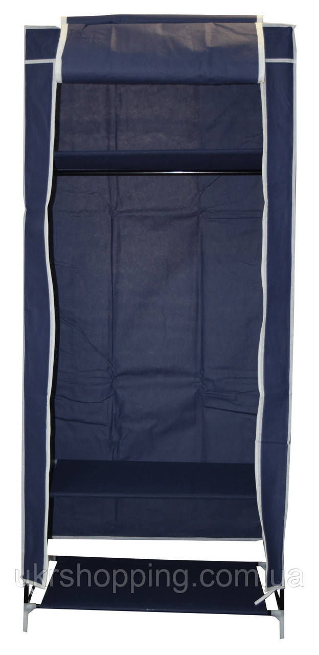 🔝 Тканевый шкаф, синий, односекторный, 8964, портативный шкаф для одежды   🎁%🚚, фото 1