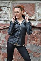 Пиджак кожаный черный 44р