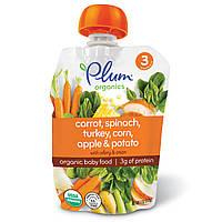 Plum Organics, Органическое детское питание, этап 3, морковь, шпинат, индейка, кукуруза, яблоко и картофель, 4 унции (113 г)