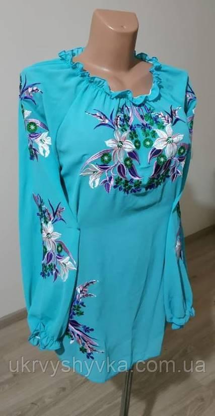 """Шифонова блузка з вишивкою """"Лілія"""" бірюзова"""