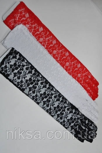 Перчатки гипюровые длинные разные цвета