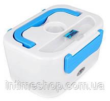 🔝 Герметичный ланч бокс, для еды, с подогревом, в автомобиль, YS-001, с кабелем 220V, цвет - голубой | 🎁%🚚