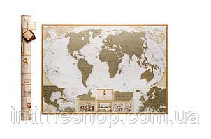 Скретч карта мира, My Map Antique edition, карта путешествий, ENG
