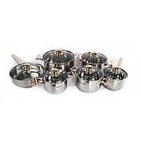 🔝 Набор кухонной посуды из нержавейки Supretto, 12 предметов, кастрюли из нержавеющей стали   🎁%🚚