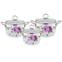 Набор эмалированной посуды 6 предметов (фиолетовый)