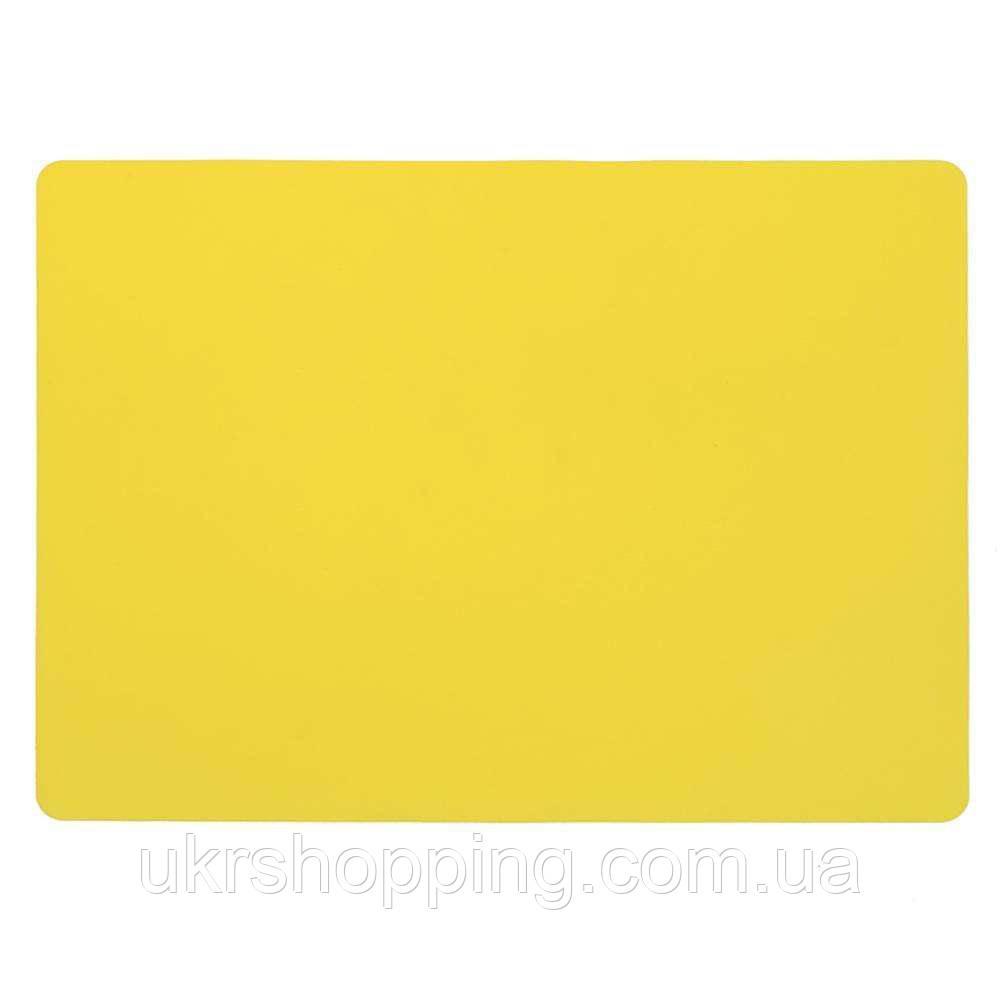 🔝 Силиконовый коврик для раскатки теста, коврик для выпечки, 37x27 см., цвет - желтый | 🎁%🚚