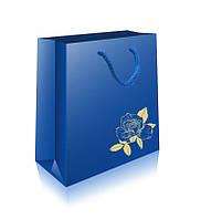 Пакет подарочный ламинированный  КАРТОН гигант горизонтальный тиснение золотом серебром (460х335х145)