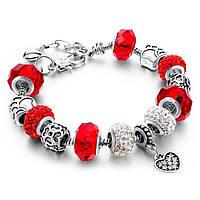 🔝 Браслет в стиле Pandora Пандора Сердце (реплика) - красный, копия Пандоры, с доставкой по Киеву и Украине   🎁%🚚