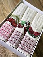 Набор вафельных полотенец с вышивкой фруктов и ягод 45*70 см (3 шт.)
