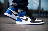 Кросівки Nike Air Jordan 1 Retro High OG, шкіра,сині з чорним в стилі найк аїр джордан