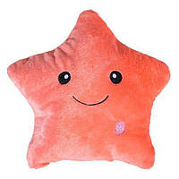🔝 Подушка Звездочка, декоративная, с подсветкой, цвет - персиковый   🎁%🚚
