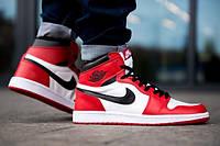Кросівки Nike Air Jordan 1 Retro High OG червоні з білим в стилі найк аїр джордан