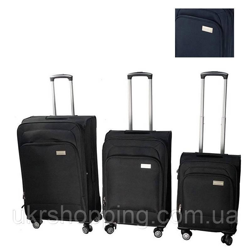 🔝 Набор чемоданов на колесах, LUGGAGE HQ, комплект, 3 шт., большой, багажный, маленький, цвет - синий   🎁%🚚